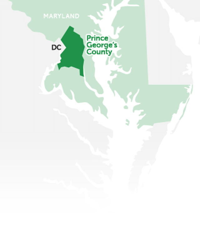 Prince George's County is located in Maryland, directly east of Washington, DC.
